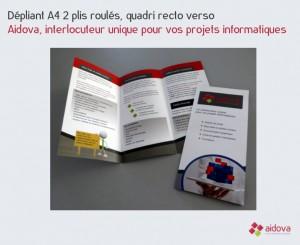 Dépliants A4 2 plis roulés Aidova