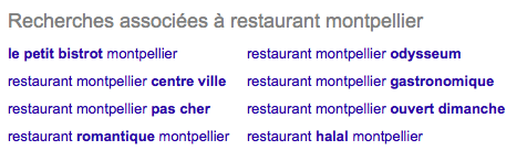 L'outil de recherches associées de Google permet de bien choisir vos mots clés