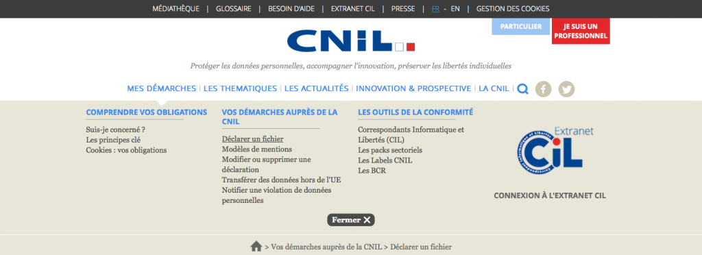 Déclaration CNIL simplifiée grâce à la refonte du site web cnil.fr et ses espaces pour professionnels et particuliers