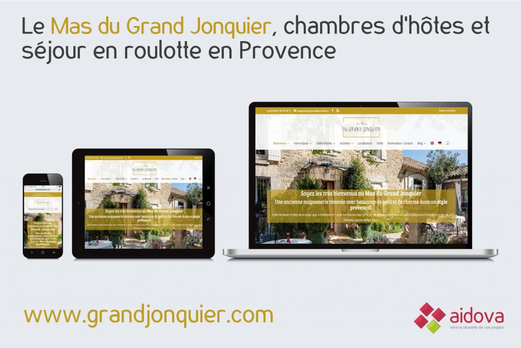 Site Web responsive du Mas du Grand Jonquier, chambres d'hôtes en Provence